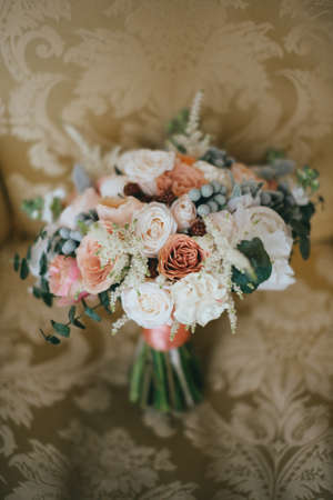 stylish beautiful bridal bouquet from different flowers Reklamní fotografie - 95236618