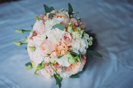 stylish beautiful bridal bouquet from different flowers Archivio Fotografico - 96038355