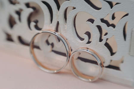 beautiful gold wedding rings on the brides preparations Stock fotó