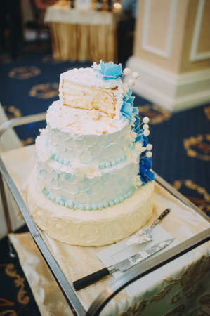 beautiful wedding cake with decorations and flowers