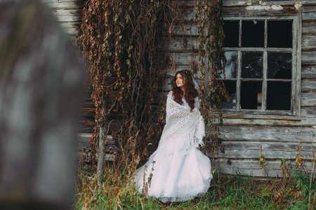 portrait of a beautiful bride in a handkerchief. rustic style. boho. fine art Stock Photo