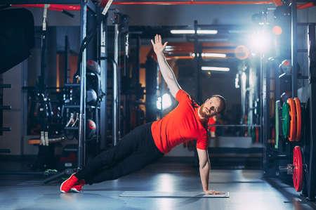 athlete trains in the gym. athlete flies