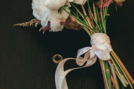 stylish beautiful bridal bouquet from different flowers Reklamní fotografie - 100439692