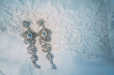 beautiful earrings of the bride. wedding accessories