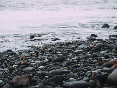 Sea pebble on the beach. stones background.