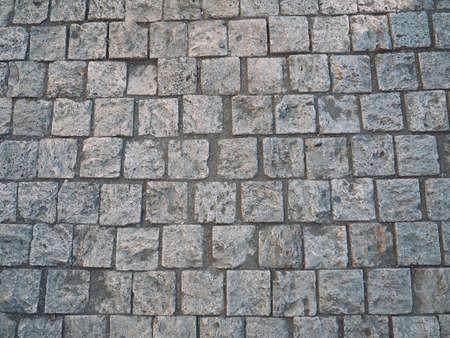 Stone pattern on tile floor with grid line for background. Banco de Imagens