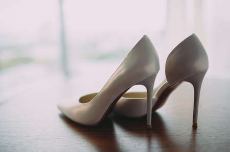 beautiful shoes of the bride. Wedding accessories. 写真素材