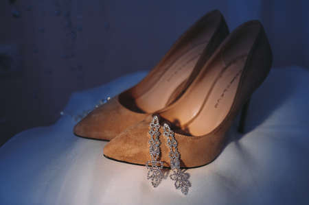 beautiful shoes of the bride. Wedding accessories. Stockfoto