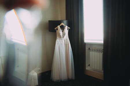 Wedding Dress. accessories at the brides preparations. Stock Photo