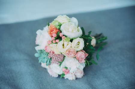 beautiful wedding bouquet of different flowers. nice