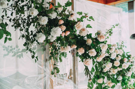 Wedding archway with flowers arranged in park for a wedding ceremony Stock fotó