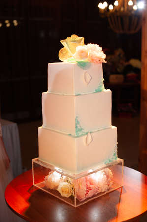 beautiful wedding cake in blue with red flowers