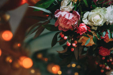 beautiful flowers in a bouquet, background, lights Stockfoto