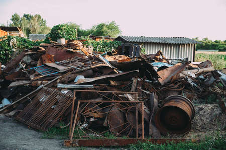 a pile of rusty scrap metal. garbage