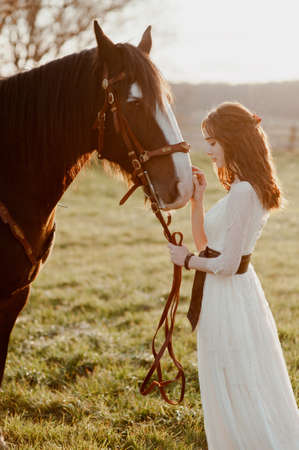 Beautiful young bride with a bay horse. touches the horse with his hand. soft sunset light. loft. rustic. boho Banco de Imagens