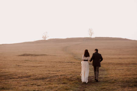 the bride and groom go into the distance. fog. morning. atmospheric photo. frame from the movie. cover of a novel