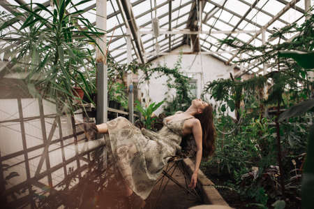 beautiful girl in a light sundress poses in a greenhouse. a tropical forest. fashion photo shoot