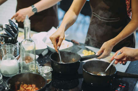 culinary master class on cooking bean and meat soup Stockfoto
