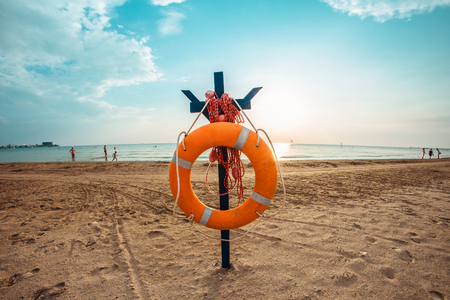 Important safety equipment for lifesaving in river, lake and beach. Stock Photo