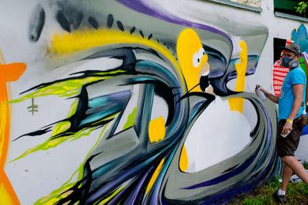 Graffiti on a wall.