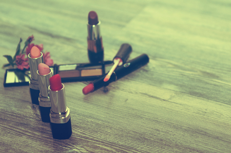 Cosmetics set. with cosmetic products and cosmetic ingredients.