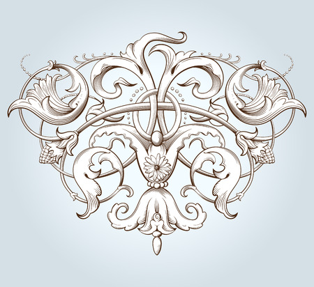 Vintage decorative element engraving with Baroque ornament pattern. Hand drawn vector illustration