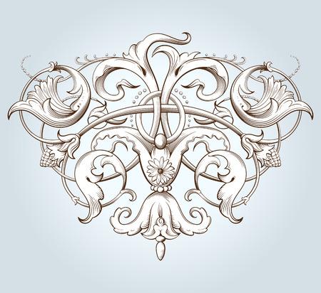 Vintage element dekoracyjny grawerowanie z barokowym ornamentem wzorca. Ręcznie rysowane ilustracji wektorowych