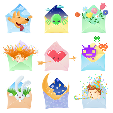 Set of funny envelopes with various characters. Vector illustration Reklamní fotografie - 61185286