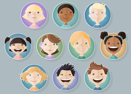 A set of different kids faces. Boys and Girls. Vector illustration Reklamní fotografie - 61185289