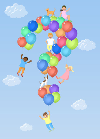 Kids on question mark shaped balloons. Vector illustration