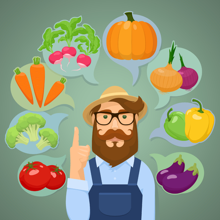 harvesting: Vector illustration of eight vegetables and a gardener.