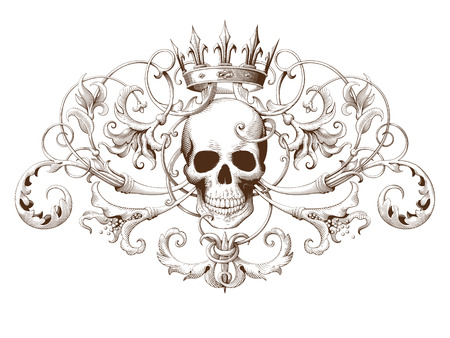 Vintage decorative element engraving with Baroque ornament pattern and skull. Hand drawn vector illustration