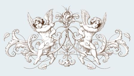Gravure d'éléments décoratifs vintage avec motifs ornementaux et cupidés baroques. Illustration dessinée à main dessinée