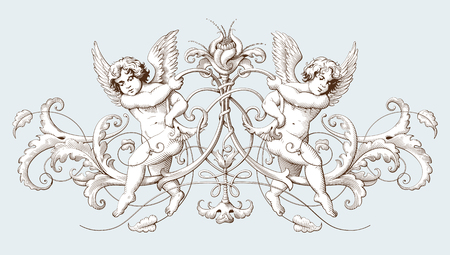 Vintage decorative element engraving with Baroque ornament pattern and cupids. Hand drawn vector illustration