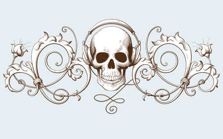Vintage decorative element engraving with Baroque ornament pattern and skull with headphones. Hand drawn vector illustration