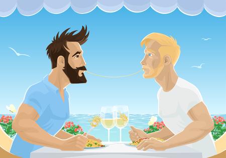 Men talking to each other vector illustration.