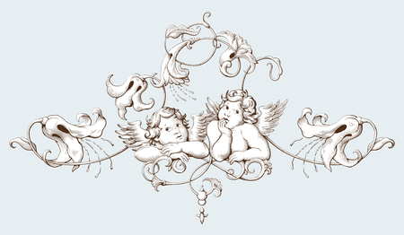 Vintage decorative element engraving with Baroque ornament pattern and cupids. Hand drawn vector illustration Illustration