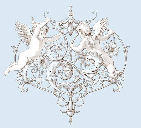 Vintage decorative element engraving with Baroque ornament pattern and cupids. Hand drawn vector illustration Ilustração