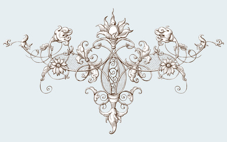 Vintage decorative element engraving with Baroque ornament pattern. Hand drawn vector illustration Reklamní fotografie - 111003359