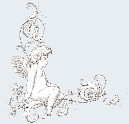 Vintage decorative element engraving with Baroque ornament pattern and cupid. Hand drawn vector illustration