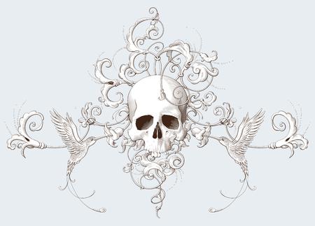 Incisione di elemento decorativo vintage con ornamento barocco, teschio e uccelli. Illustrazione vettoriale disegnata a mano