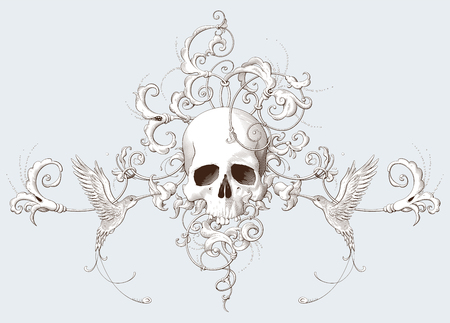 Vintage decorative element engraving with Baroque ornament, skull and birds. Hand drawn vector illustration