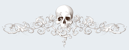 Vintage decorative element engraving with Baroque ornament and skull. Hand drawn vector illustration Illustration