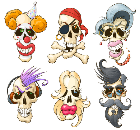 Set of funny skulls. Different cartoon characters. Isolated on white background. Colourful vector illustrations Çizim