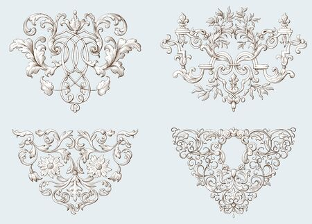 Set of vintage decorative elements with Baroque ornament. Engraving style. Hand drawn vector illustration