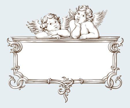 Gravure de cadre de bordure vintage avec motif d'ornement baroque et cupidon. Illustration vectorielle dessinés à la main Vecteurs