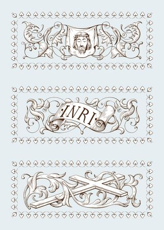 A set of Religious symbols of christianity, including cross, face of Jesus Christ and a sign with INRI text. Biblical illustrations in old engraving style. Hand drawn vector illustration