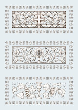 A set of Religious symbols of christianity, including cross and Grail. Biblical illustrations in old engraving style. Hand drawn vector illustration.