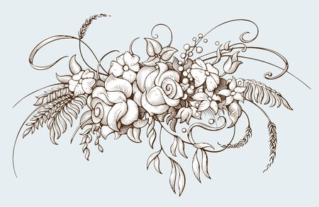 Bunch of flowers. Vintage botanical illustration. Bouquet in Baroque engraving style. Hand drawn vector illustration