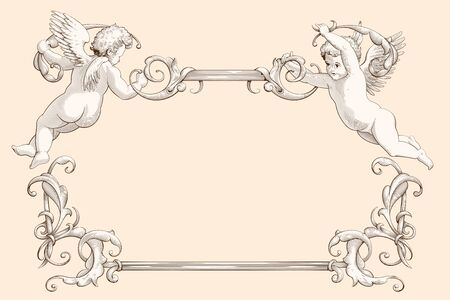 Elegant vintage border frame with cupids for weddings, Valentine`s day and other holidays. Decorative element in the style of vintage engraving with Baroque ornament. Hand drawn vector illustration